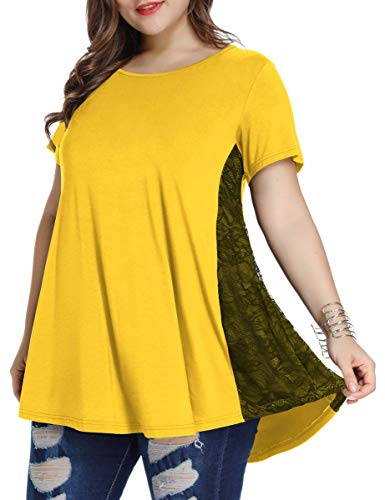 (LARACE Women Lace Tunic Top Short Sleeve Flare T Shirt for)