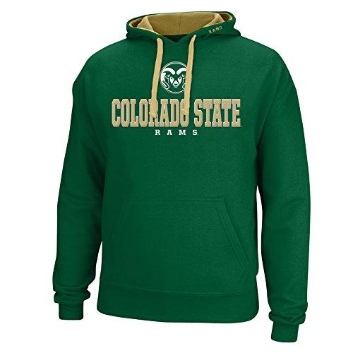 J America NCAA Colorado State Rams Men's Logo School Name Foundation Hoodie, Small, Green/Vegas (State Rams Logo Colorado)