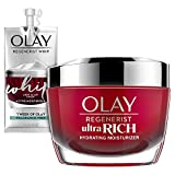 Olay Regenerist Ultra Rich Face Moisturizer with Amino Peptide, Vitamin B3+, & Shea Butter, 1.7 Oz + Whip Face Moisturizer Travel/Trial Size Gift Set