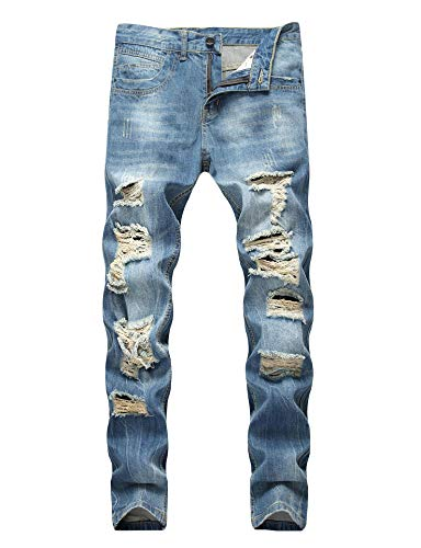Enrica Men's Ripped Distressed Destroyed Straight Fit Washed Denim Jeans, 408 Blue, 38