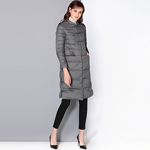 Collar Solid COAT Medium Grey Jacket Button XXL Coat DYF Down Color Sleeve FYM Length Long 0TqSXT