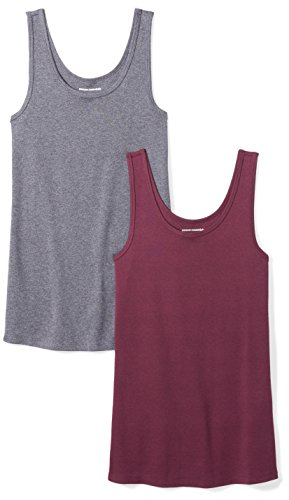 Amazon Essentials Women's 2-Pack Slim-Fit Tank, Burgundy/Charcoal Heather, Large ()