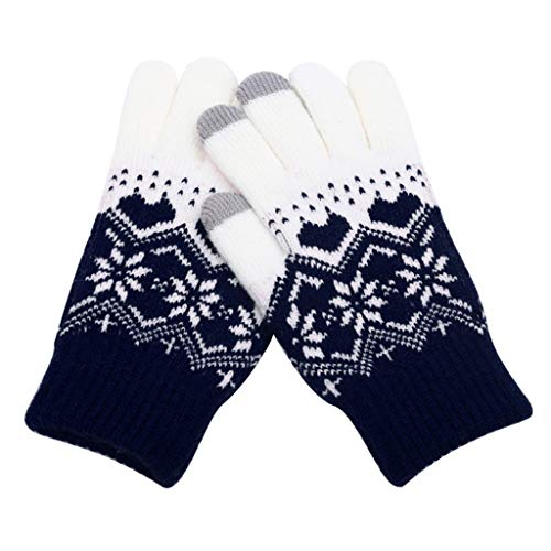 (Sikye Full Finger Hands Warmer Womens Christmas Wind-Proof Touchscreen Typing Gloves,Best Winter Gifts for Women,Ladies (Navy))