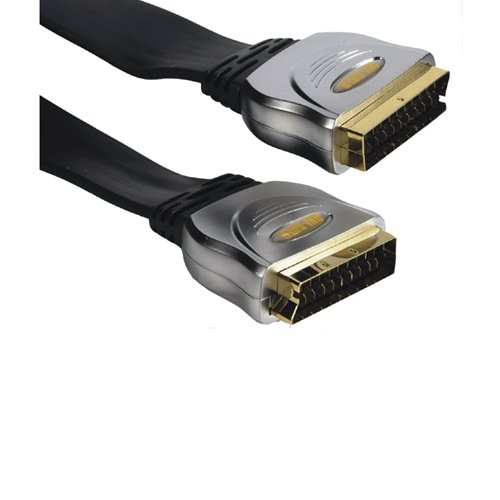 Gold Plated Flat Scart Plug Scart Plug 1.5 metre