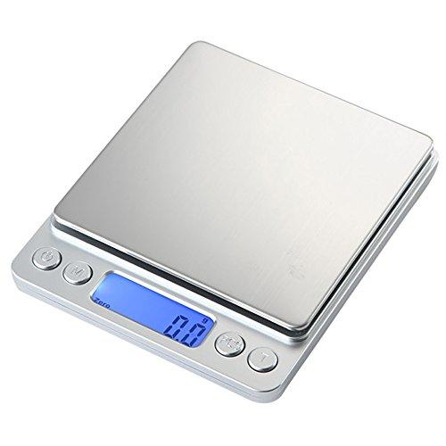 Gosear Mini Portable Báscula Digital de Plataforma Profesional - Acero Inoxidable, LCD Azul Retroiluminada, 2kg / 0.1g - para Cocina Joyería: Amazon.es