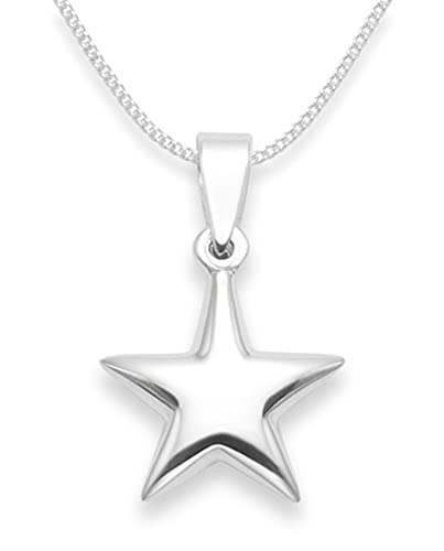 Sterling silver star necklace on 16 silver chain size 14mm sterling silver star necklace on 16quot silver chain size 14mm gift boxed mozeypictures Image collections
