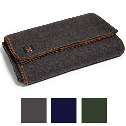 Arcturus Military Wool Blanket - 4.8 lbs, Warm, Thick, Washable, Large 64