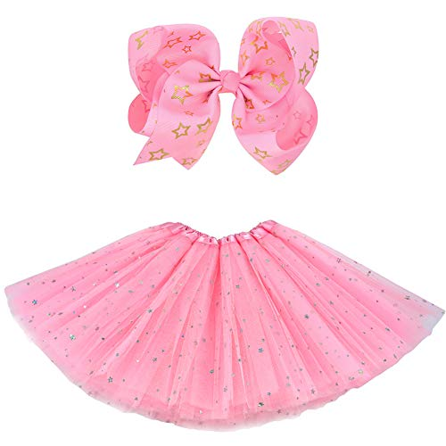 BGFKS 5 Layered Tulle Tutu Skirt for Girls with Hairbow and Hairties, Ballet Dressing Up Kid Tutu Skirt (Star-Pink, 2-8 Years Old)