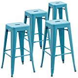 Backless Industrial Design Metal Iron Stools 30″ Set of 4 Duhome WY-665D Metal Bar Stool (Blue) For Sale
