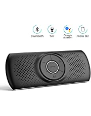 AGPTEK HandsFree Bluetooth Visor Car Kits In Car Speakerphone Auto On Off, Wireless In Car Speaker Connects with Siri & Google Assistant, Supports GPS Music, for Android & iOS Phone, Black