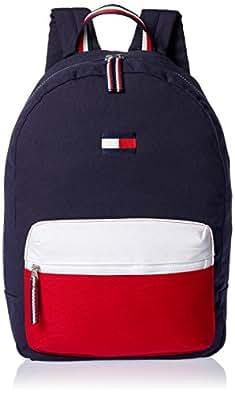 Tommy Hilfiger Joe Colourblock Canvas Backpack, Navy Blazer/Chili Pepper/Classic White