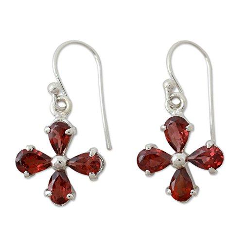 NOVICA Garnet .925 Sterling Silver Dangle Earrings 'Scarlet - Fair Fahion