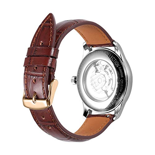 Alligator Grain Watch Band Quick Release Replacement Leather Watch Straps AISHIRUI Genuine Italian Calf Leather Brown Bracelet with Rose Gold Buckle for Men and Women (21mm, Tone-in-Tone Stitching) ()