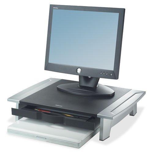 Monitor Riser, Adjustable, 19-7/8''x14-1/16''x4''-6-1/2'', BK/SR, Sold as 1 Each - Fellowes Monitor Riser, Adjustable, 19-7/8''x14-1/16''x4''-6-1/2'', BK/SR