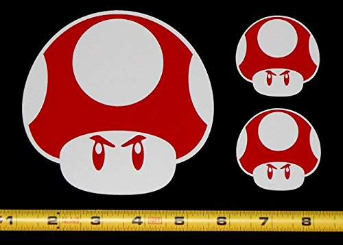 Super Mario Brothers World Mad Power Up Mushroom - Two Color Set of 3 HQ High Gloss Red on White Vinyl Decals!