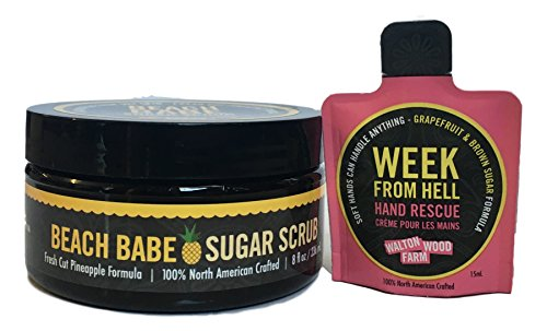 Walton Wood Farm Women Smell Pretty Bath Products with Mini Week from Hell Hand Rescue (Beach Babe, Sugar Scrub)