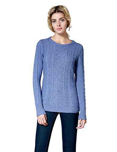 Ninovino Women's Crew Neck Cable Knit Pullover Sweater Blue-XS Classic Cable Crewneck Sweater