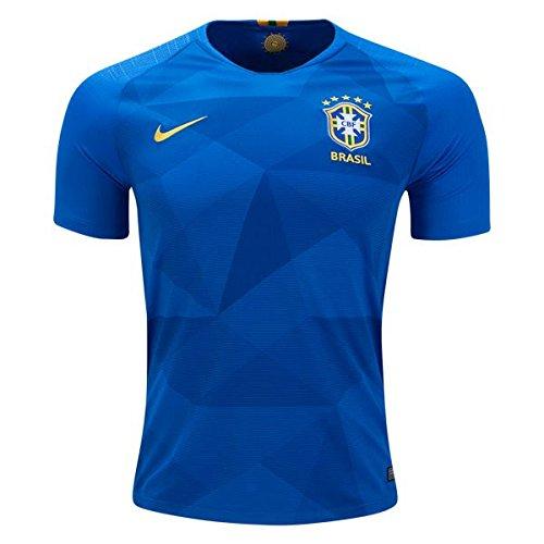 NIKE 2018 Brasil CBF Away Stadium Jersey (Soar/Midwest Gold) (M) (Nike Gold Football Jersey)