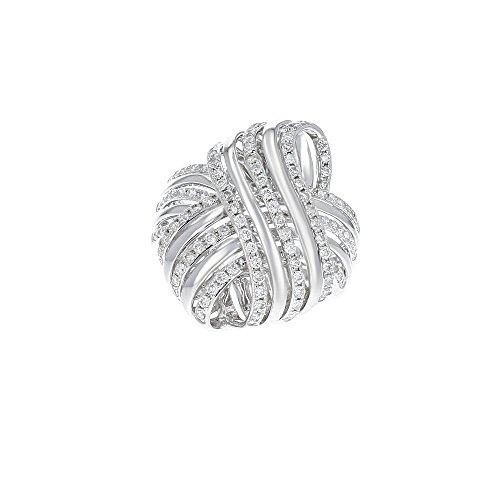 Women's 14k White Gold and Diamond Knot Ring ()