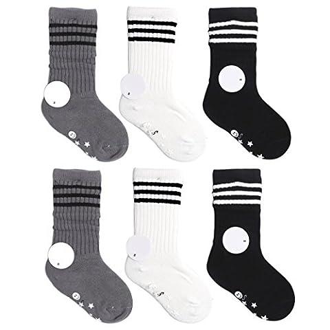 VWU 6 Pack Little Girls Boys Tube Socks Stripe Knee High Socks 1-10 Years (M (4-6 years)-Without Anti (The Middle Season 1 2 3 4)
