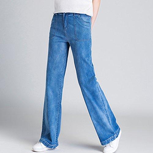 Oscuro Mezclilla Grandes Pierna Flojos Mujer Rectos Tallas Xinwcanga Pantalones Azul de Ancha Vaqueros wSXx0P