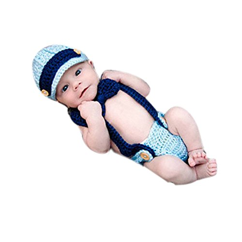 MuTong NewbornBoy Girl Baby Photography Photo Costume Outfits Props Crochet Bowtie Set