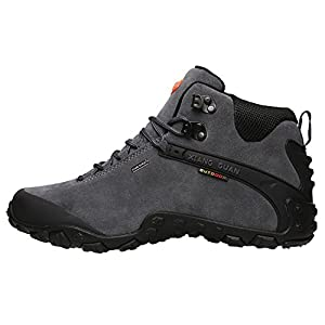 XIANG GUAN Men's Outdoor High-Top Lacing Up Water Resistant Trekking Hiking Boots Grey 10