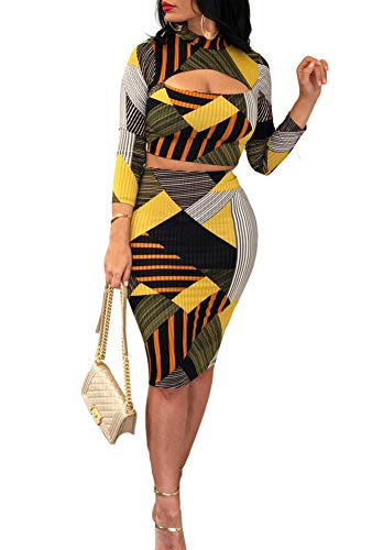 (Women Two Piece Outfit - Long Sleeve Floral Crop Top Midi Skirt Set Dress Suit Party Clubwear Yellow L)