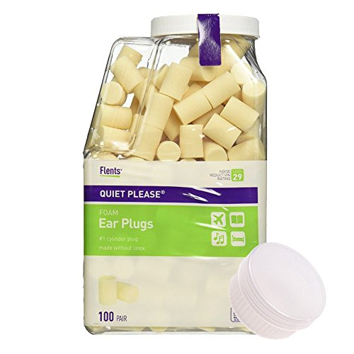 Flents Quiet Please Foam Ear Plugs (100 Pair) with a Clear Plastic Travel Jar - (Quiet Please Foam Ear Plugs)