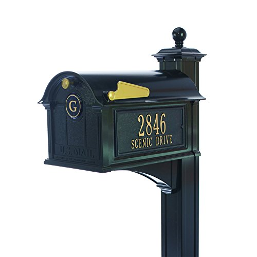Personalized Whitehall Balmoral Mailbox with Side Address Plaques, Monogram & Post Package (3 Colors Available) by Personalized Mailbox (Image #4)