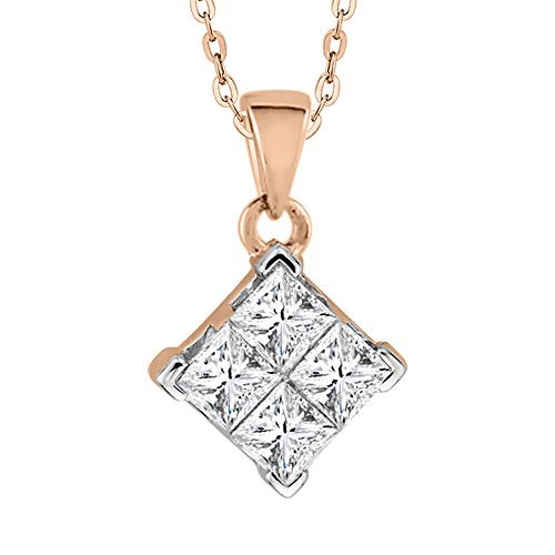Princess Cut Diamond Pendant with Chain in 14K Rose Gold (1/5 cttw) (GH-Color, I2/I3-Clarity)