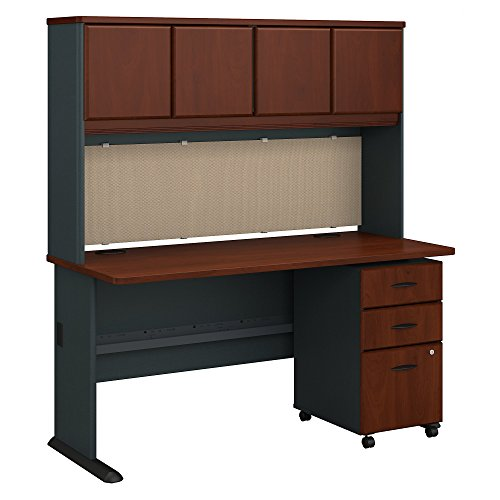 Bush Business Furniture Series A 60W Desk with Hutch and Mobile File Cabinet in Hansen Cherry and Galaxy ()