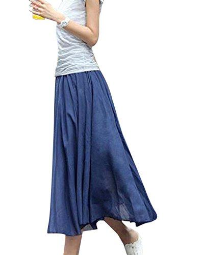 Mujer Elegante Elástico Dobladillo Grande Falda Irregular Vestido De La Playa Verde Azul Denim