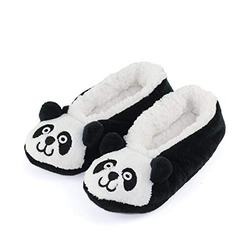 - Womens Warm Cozy and Lovely Animal Non-Skid Knit Indoor Home Floor Slippers Socks for Adults Girls (4-6, Black Panda)