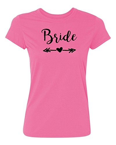 Bride Womens Pink T-shirt - P&B WEDDING TRIBAL BRIDE Women's T-shirt, M, Azalea Pink