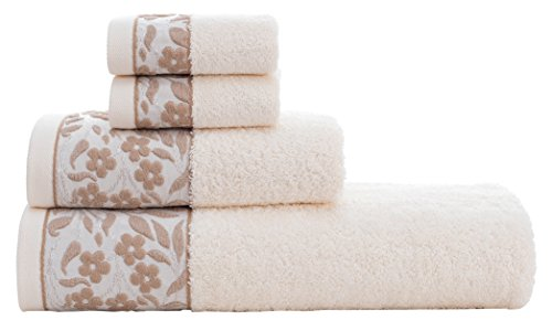 HYGGE Premium 100% Turkish Cotton Towel Set with Floral Jacquard; 1 Bath Towel (27'' x 56''); 1 Hand Towel (19'' x 32''); 2 Washcloths (12'' x 12'') (Cream) by HYGGE (Image #4)