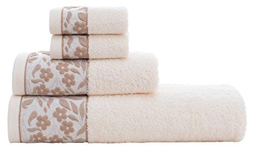 HYGGE Premium 100% Turkish Cotton Towel Set with Floral Jacquard; 1 Bath Towel (27'' x 56''); 1 Hand Towel (19'' x 32''); 2 Washcloths (12'' x 12'') (Cream) by HYGGE