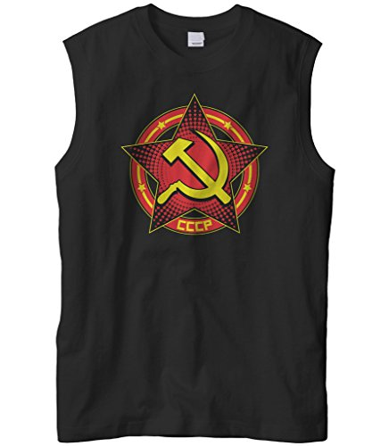 Cybertela Men's CCCP Star Sleeveless T-Shirt (Black, X-Large)