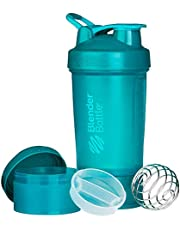 Blandare flaskprostak – 24 oz protein shaker kopp vattenflaska inkl. 150 cc och 100 cc burk, grönblå, 650 ml