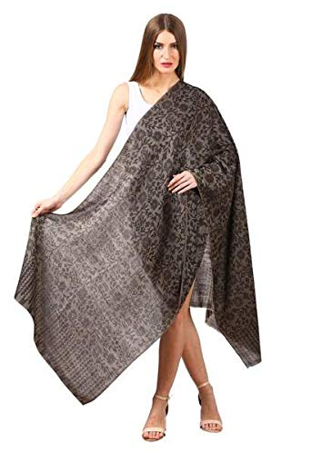 Women's SilkPashmina Reversible Floral Scarf, Soft and Warm (Black)
