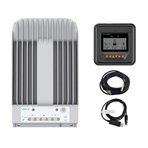 EPEVER MPPT Solar Charge Controller 40A 150V PV Solar Panel Controller Negative Ground W/ MT50 Remote Meter + Temperature Sensor PC Monitoring - Panel Solar Remote
