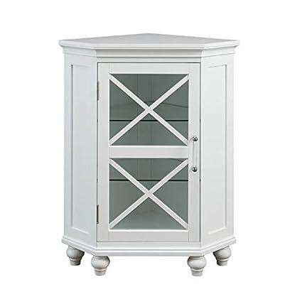 1a12350d9d695 Grayson Corner Floor Cabinet with White Shutter Door White Corner Cabinet  Room Décor Furniture Corner Wall