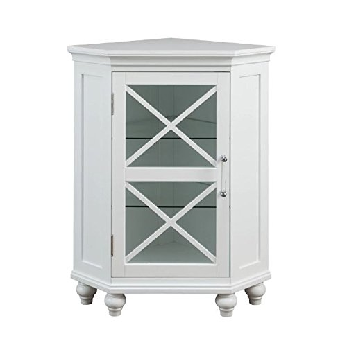 Grayson Corner Floor Cabinet with White Shutter Door White Corner Cabinet Room Décor Furniture Corner Wall Cabinet Corner Storage Cabinet Corner Bathroom Cabinet Corner Cabinet Shelf Medicine Cabinet by King Bath