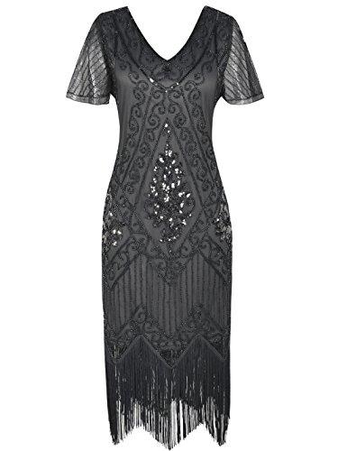 PrettyGuide Women's 1920s Flapper Dress Fringed Great Gatsby Dress M Gray for $<!--$38.99-->
