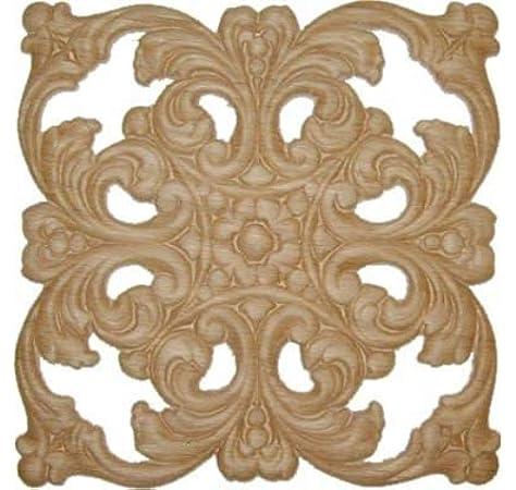 Amazon Com Uniqantiq Hardware Supply Veneered Oak Scroll Floral Decorative Ornament Square Applique 6 X 6 Onlay Antique Modern Furniture Doors Walls Carved Wood Ornamental Decor W3 5777 Home Kitchen