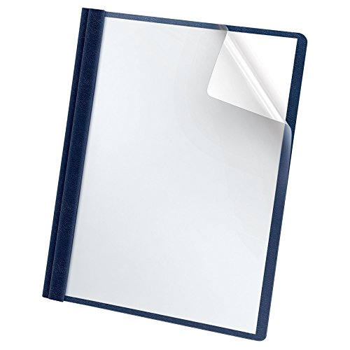 Oxford Premium Clear Front Report Covers, Letter Size, Dark Blue, 25 per Pack (58802EE) (Clear Title Pocket)