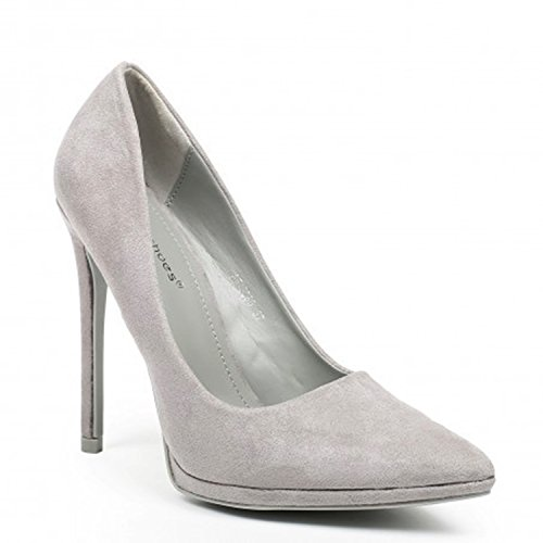 King Of Shoes Klassische Damen Stilettos Pumps High Heels Plateau Schuhe  Spitz 60 Grau 68a60377a6