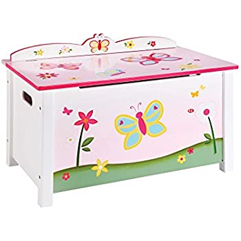 Amazon Com Guidecraft Wood Hand Painted Butterfly Buddies Pink Chest Toy Box Kids Storage