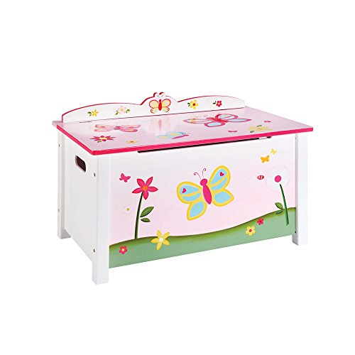 Guidecraft Wood Hand-painted Butterfly Buddies Pink Chest - Toy Box, Kids Storage Furniture by Guidecraft