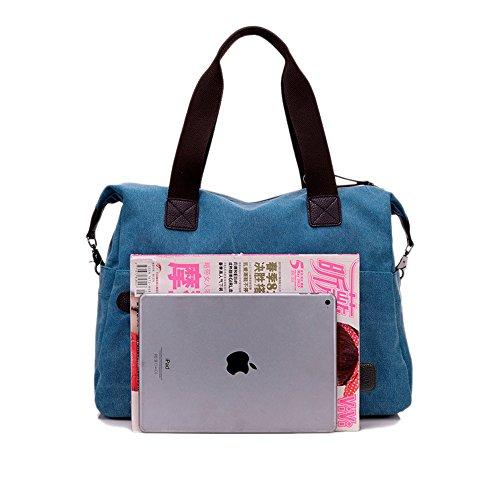 Nlyefa Damen Canvas Handtasche/Umhängetasche groß, Canvas Schultertasche Hobo Bags für Schule Büro Reise Shopping Grau Blau
